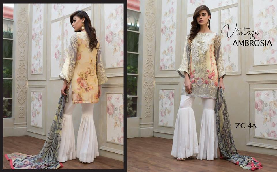 Short Silk shirt with flared pants by zainab chottani for winter