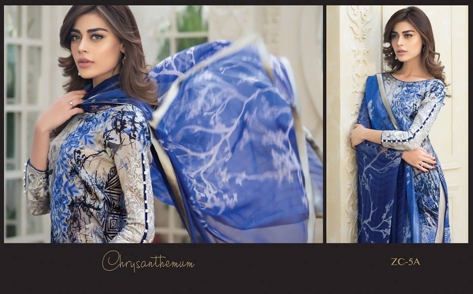 Blue and grey silk dress for parties by zainab chottani