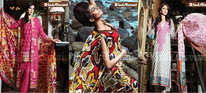 Gul Ahmed Latest Fall Winter Dresses Collection 2015 For Women