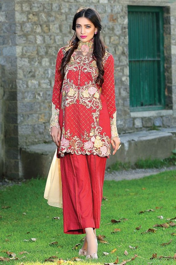 Red Embroidered dress by motifz for fall parties