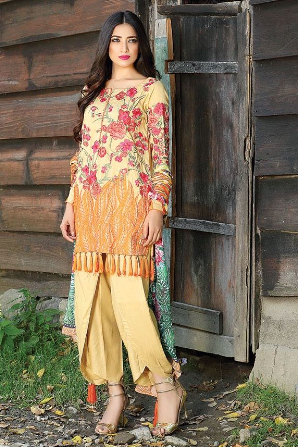 Motifz winter yellow tassel dress with harem pants