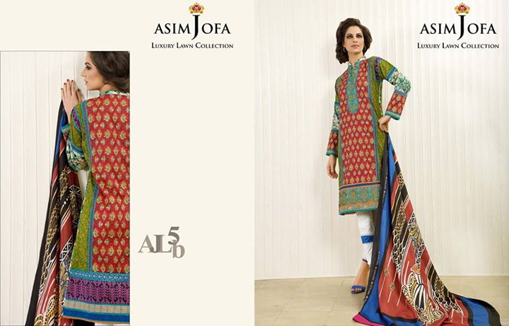 Knee Length Lawn Dress By Asim Jofa Collection 2017