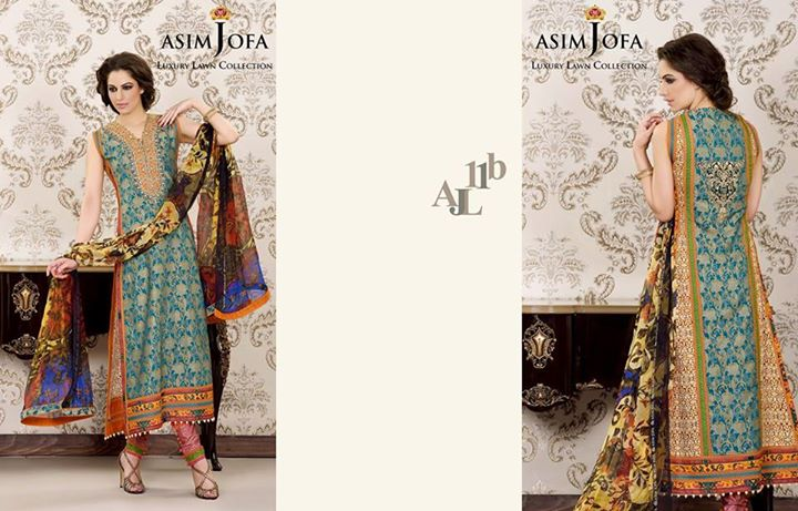 A-Line Summer Dress By Asim Jofa Lawn Collection 2017