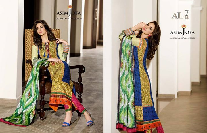 Blue Color Outfit By Asim Jofa Summer Collection 2017