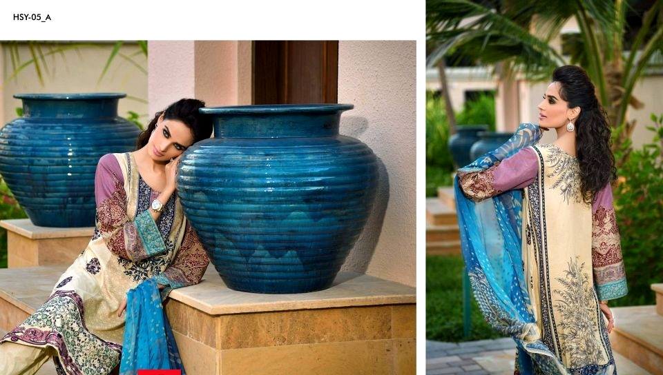 Blue Dupatta Lawn Dress By HSY