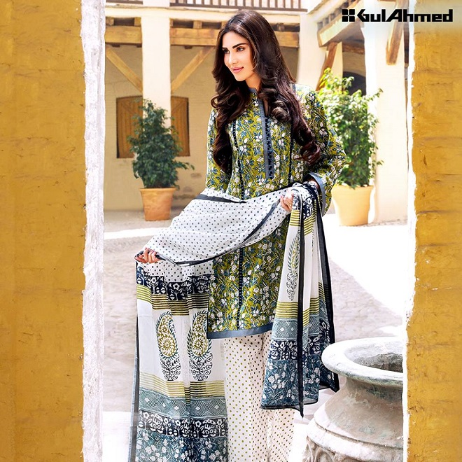 Gul Ahmed green summer printed design