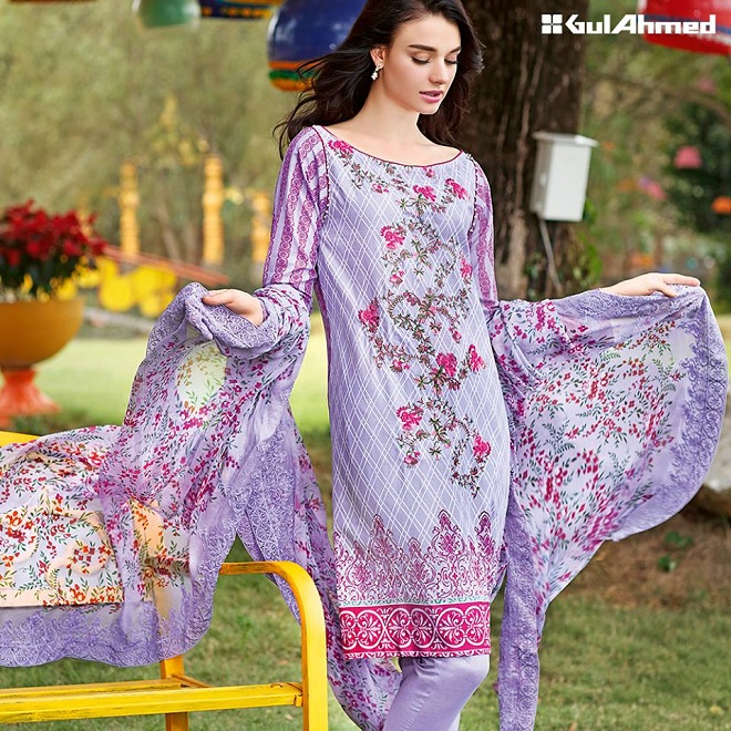 Gul Ahmed mauve color summer embroidered dress
