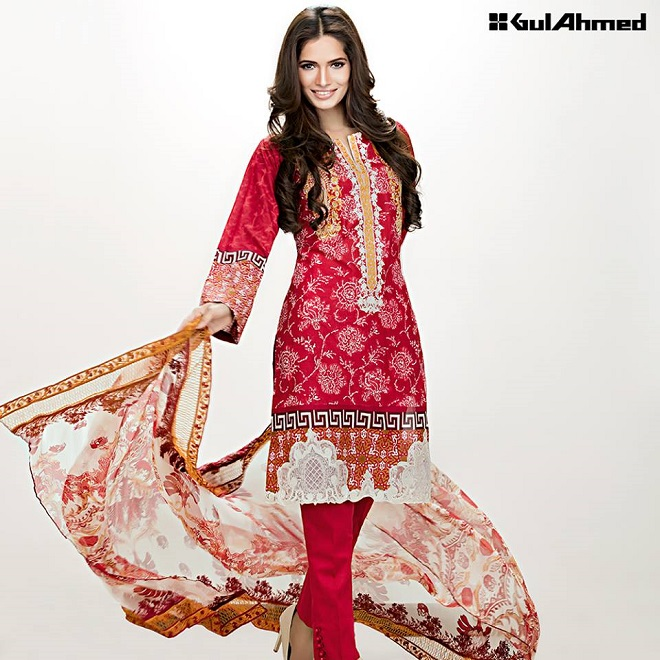 Gul Ahmed summer red embroidered lawn suit
