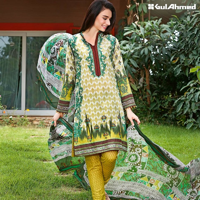 Gul Ahmed fresh green summer printed suit