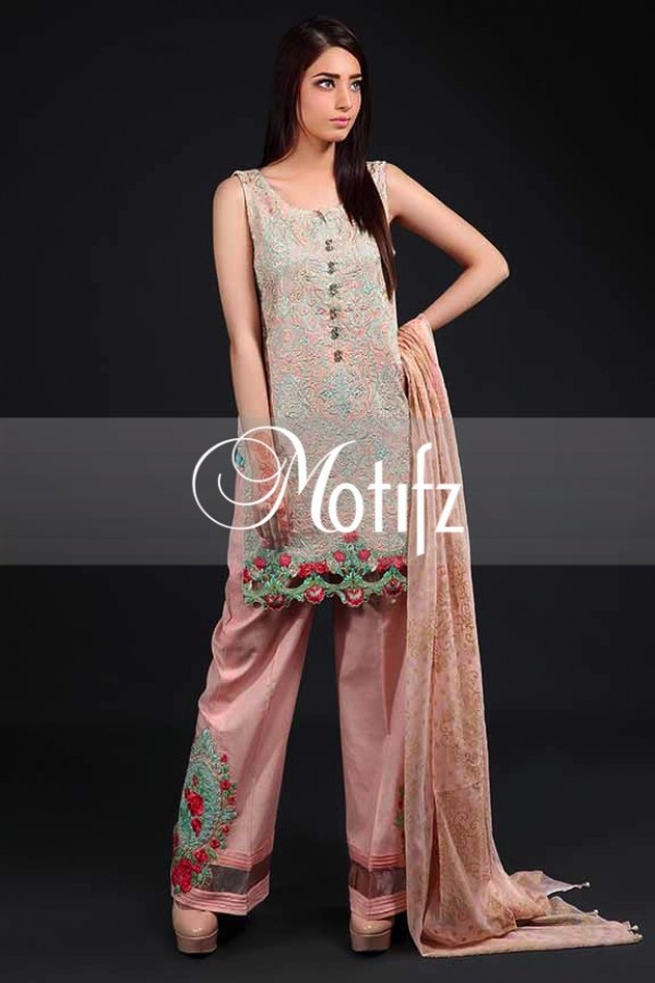 Motifz Party Wear Embroidered Lawn Dress Vol-2