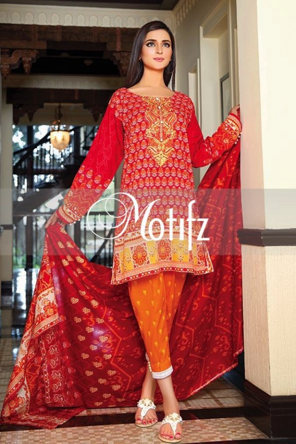 Latest Motifz Red Embroidered Lawn Dress
