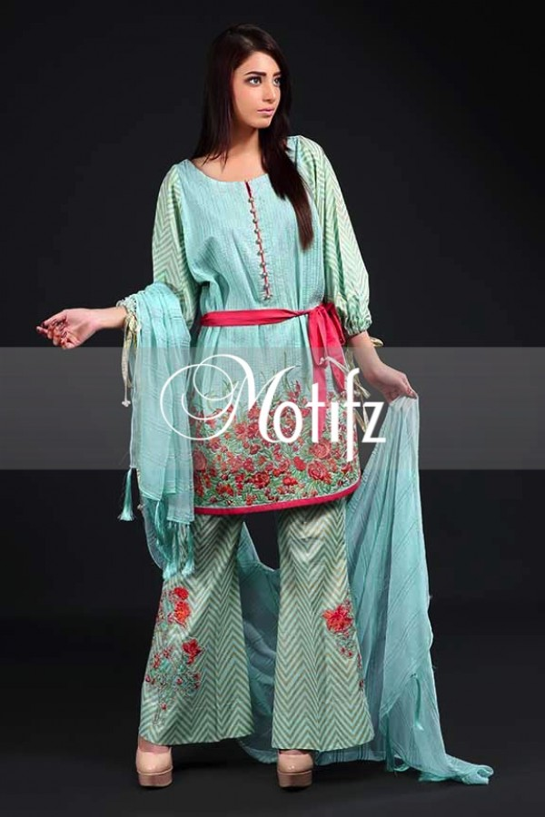 Sea Green Embroidered Lawn Outfit By Motifz