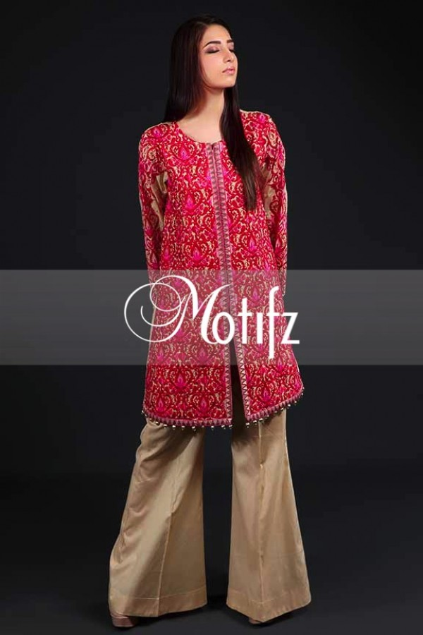 Shocking Pink Embroidered Lawn Outfit By Motifz