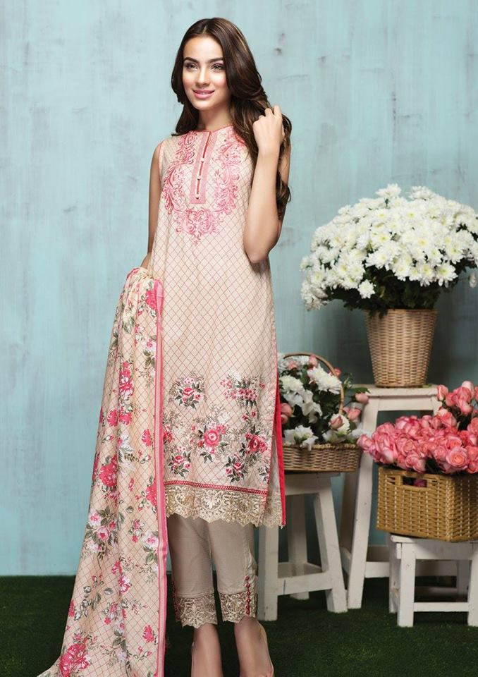 Alkaram latest summer collection beige and pink embroidered dress