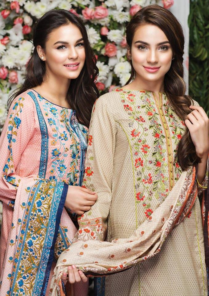 Alkaram latest summer collection fawn and pink dresses with embroidered neckline