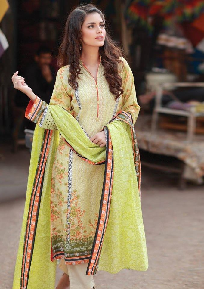 Alkaram two piece collection floral lime green with printed dupatta
