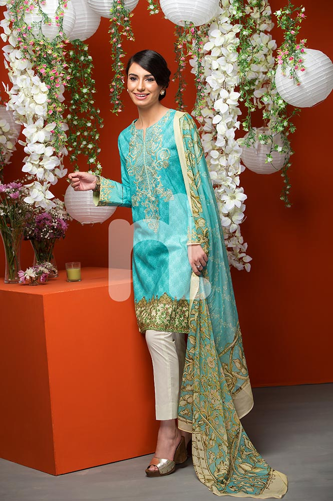 Aqua Blue Eid Attire By Nishat Linen 2017