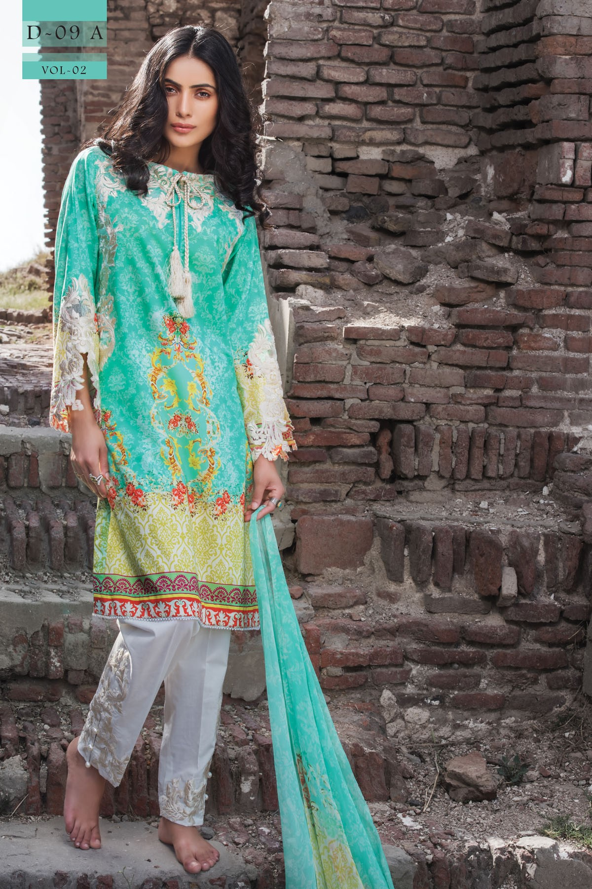Warda spring summer collection 2016 vol 1 with prices beststylo com - Aqua Lawn Outfit By Zeniya Summer Collection 2017