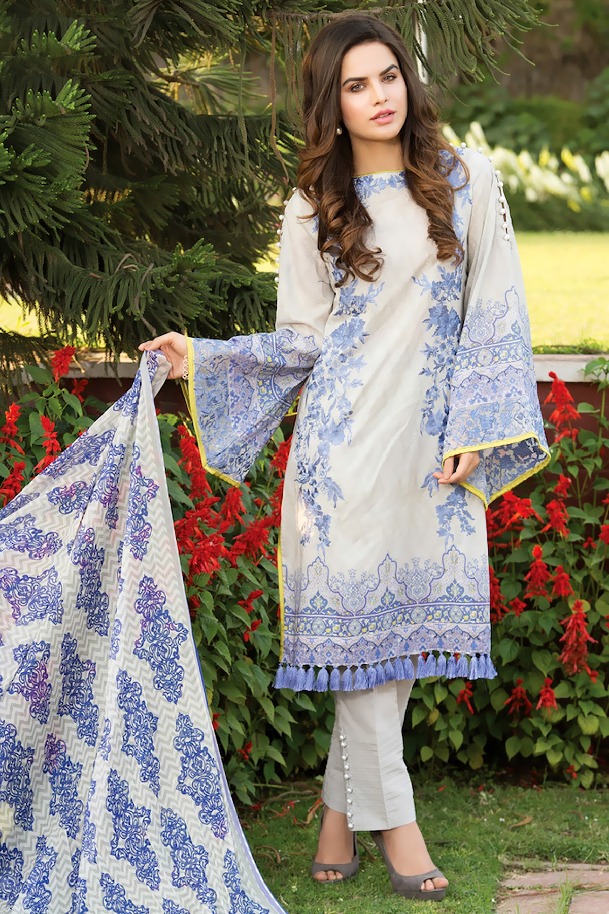 Warda spring summer collection 2016 vol 1 with prices beststylo com - Blue Zeniya Unstitched Lawn Dress