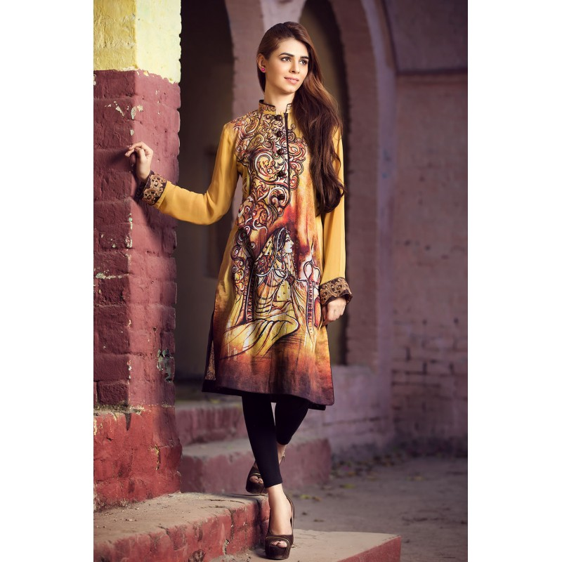 Brown Color Printed Shirt For Eid By Resham Ghar