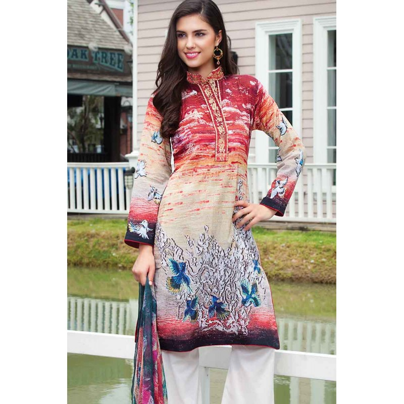 Embroidered Neckline Outfit By Resham Ghar For Eid