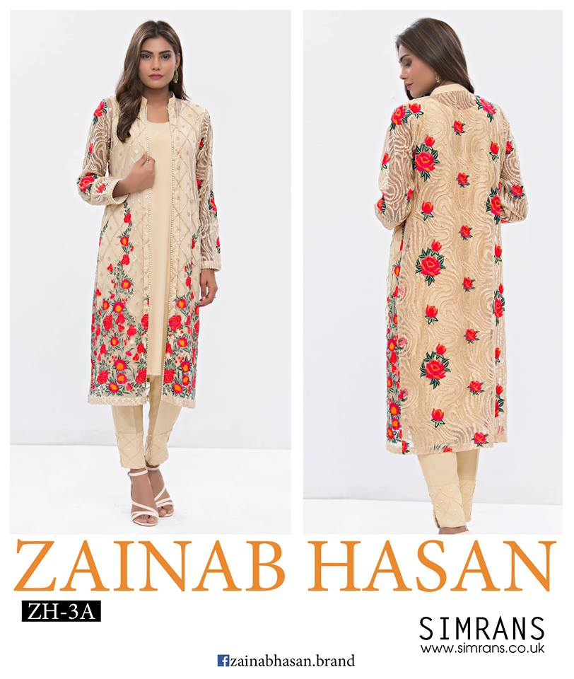 Front Open Embroidered Jacket Eid Wear By Zainab Hasan 2016