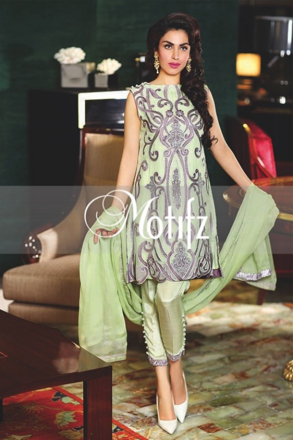 Motifz apple green unstitch chiffon dress