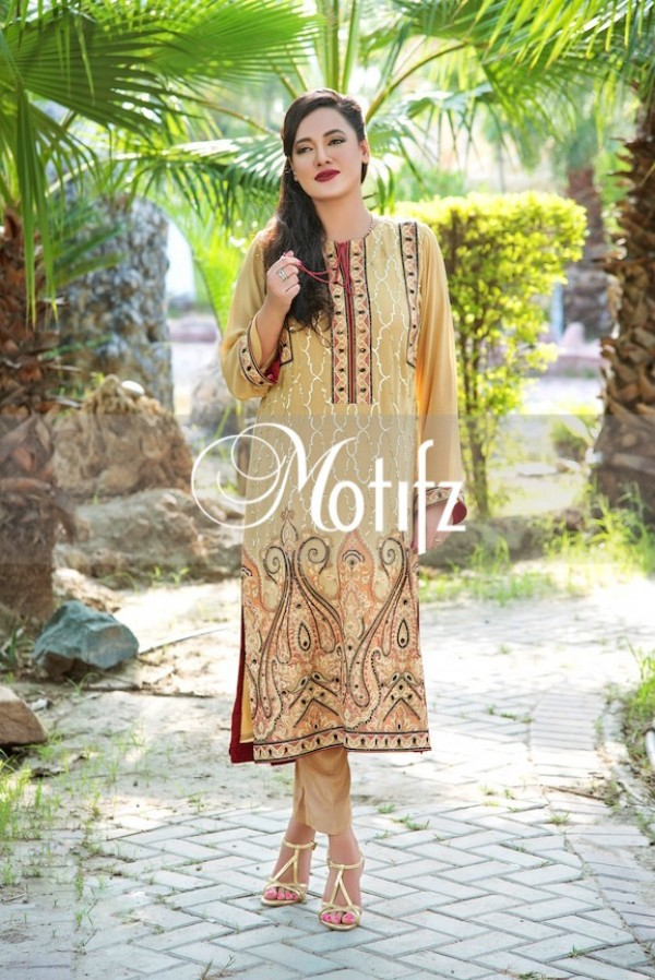 Motifz gold chiffon embroidered fabric