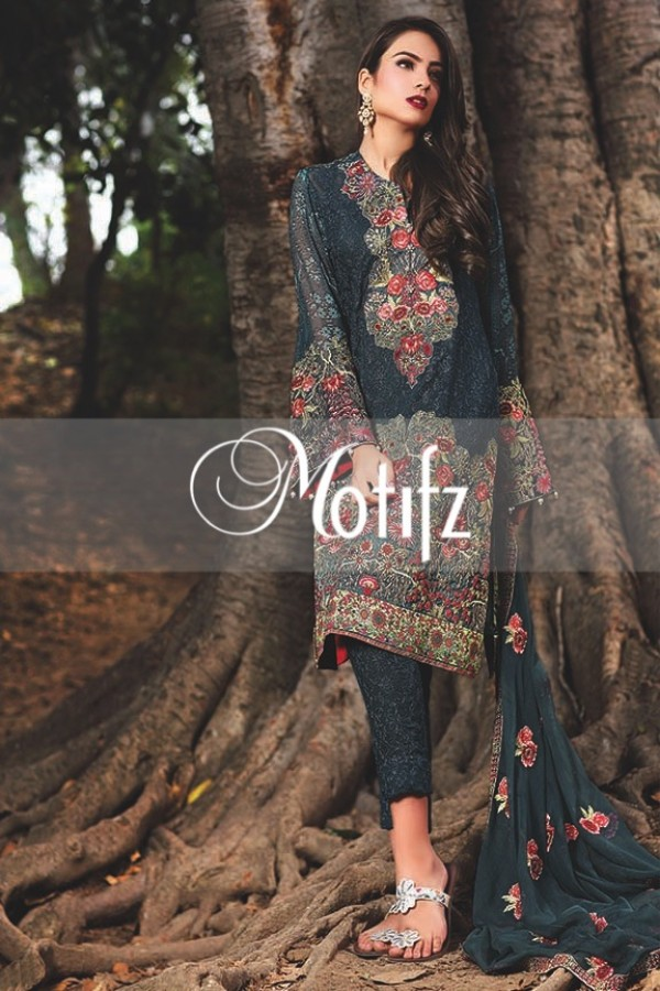 Motifz ink blue shade formal dress
