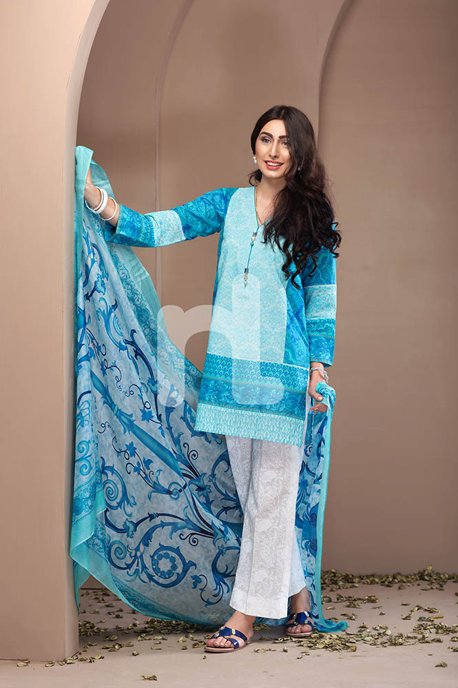 Nishat Linen So Blue Eid Attire For Eid 2017