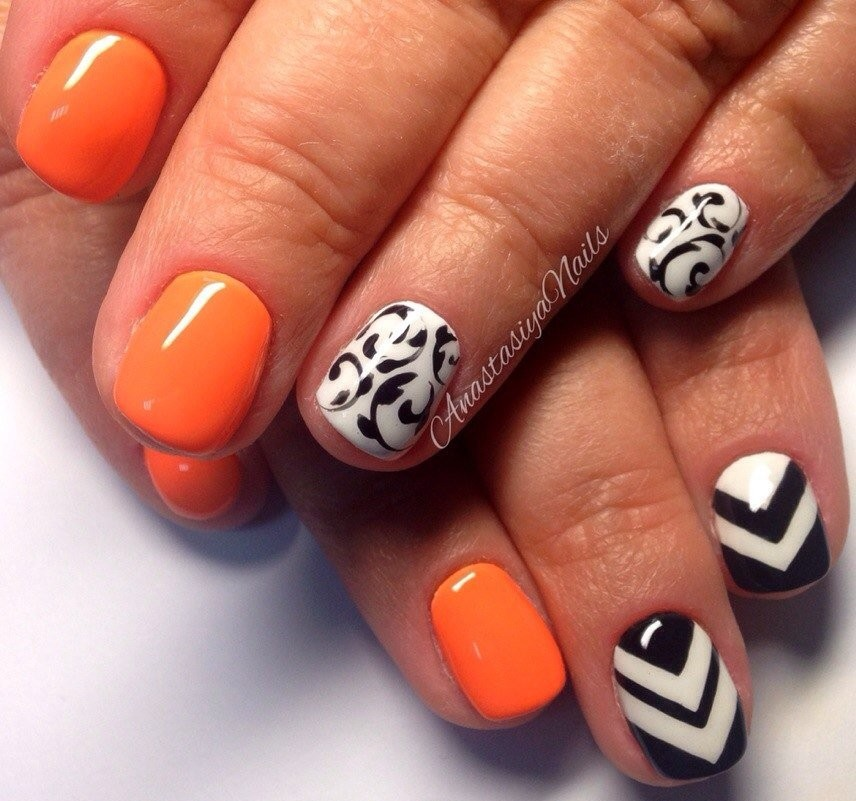 Orangy Nail Art On Eid 2017