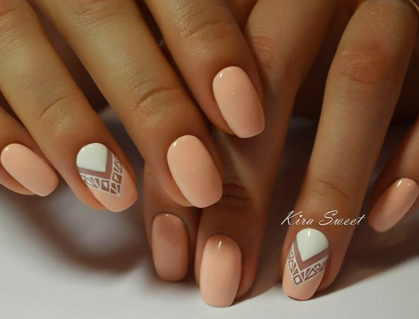 Peach Nail Art For Eid 2017