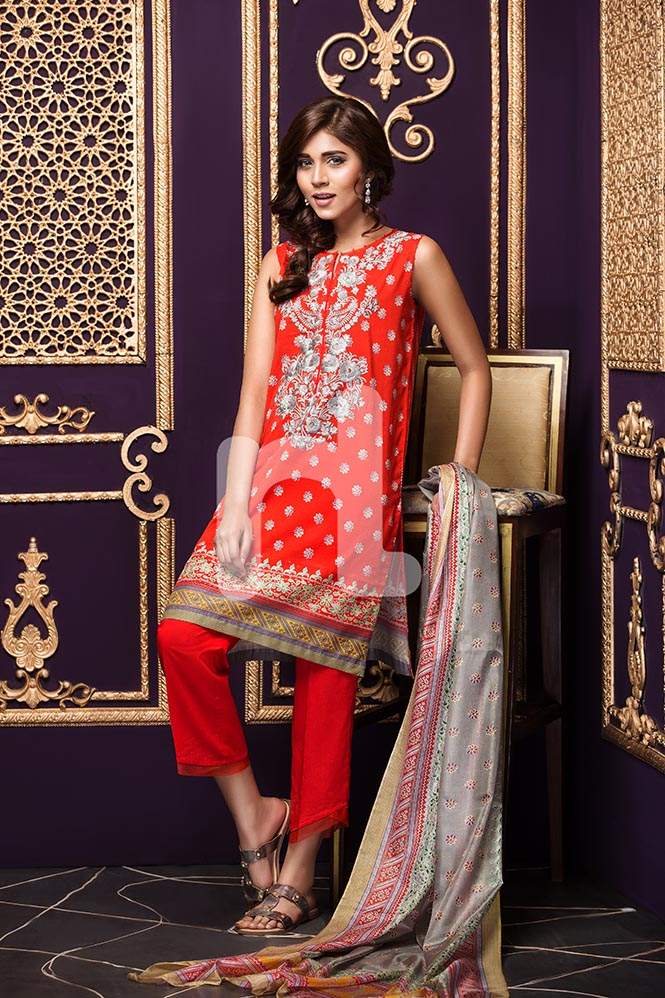 Red Color Apparel By Nishat Linen For Eid 2017