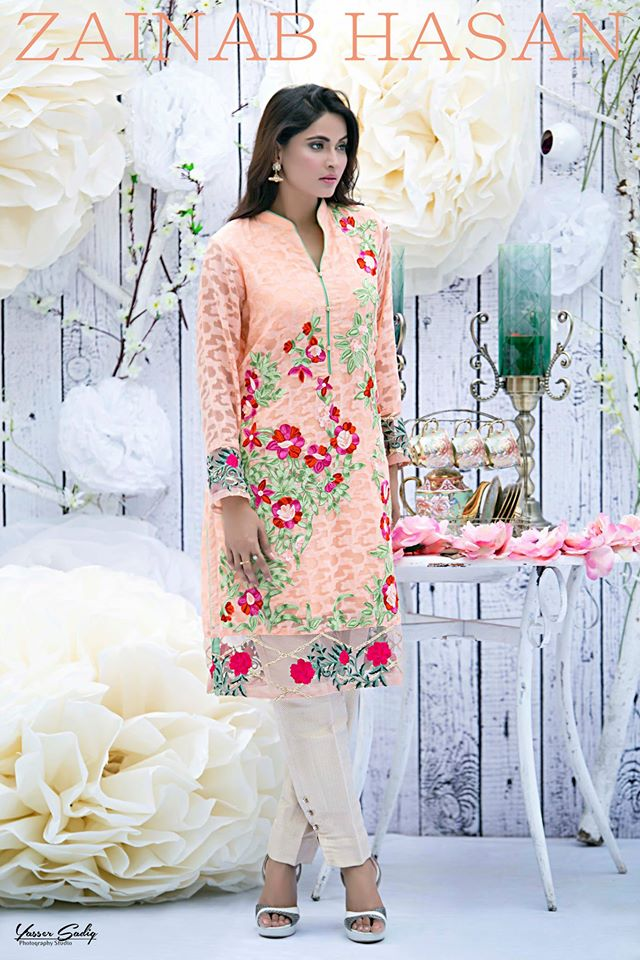 Red Floral Embroidered Shirt By Zainab Hasan For Eid 2016