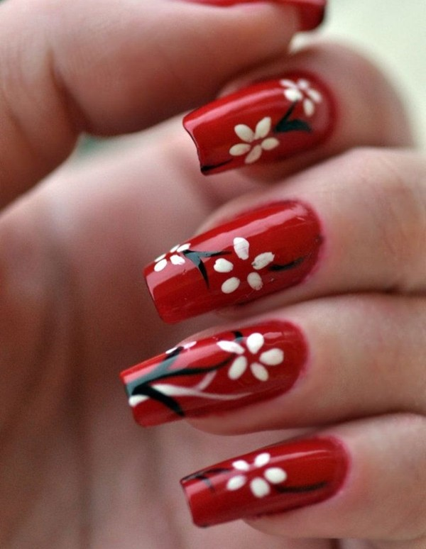 Romantic Red Nail Art On Eid 2017