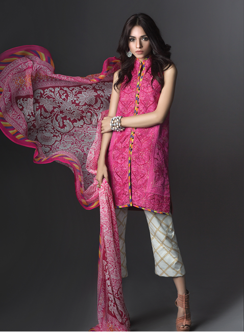 Sana Safinaz Pink Floral Silk Embroidery for Eid 2017