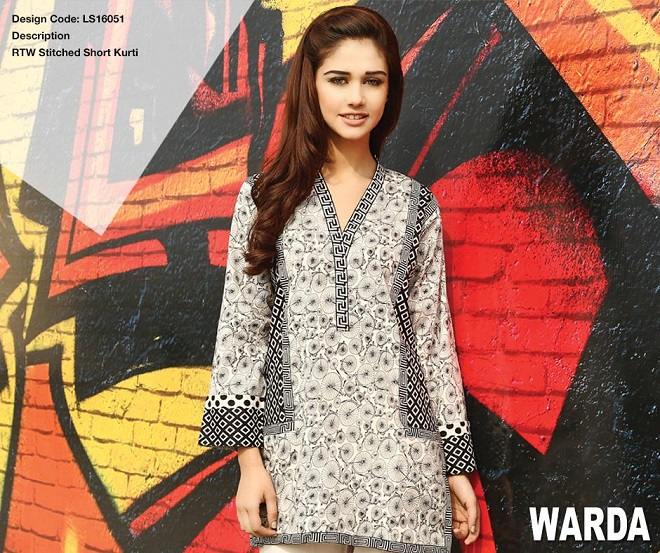 Warda ready to wear summer collection black and white short kurti
