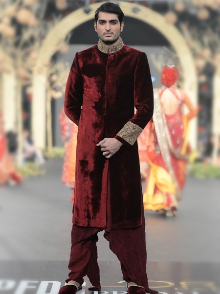HSY maroon sherwani collection