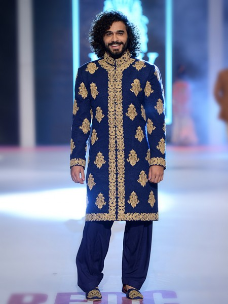 HSY Navy Blue embroidered sherwani collection