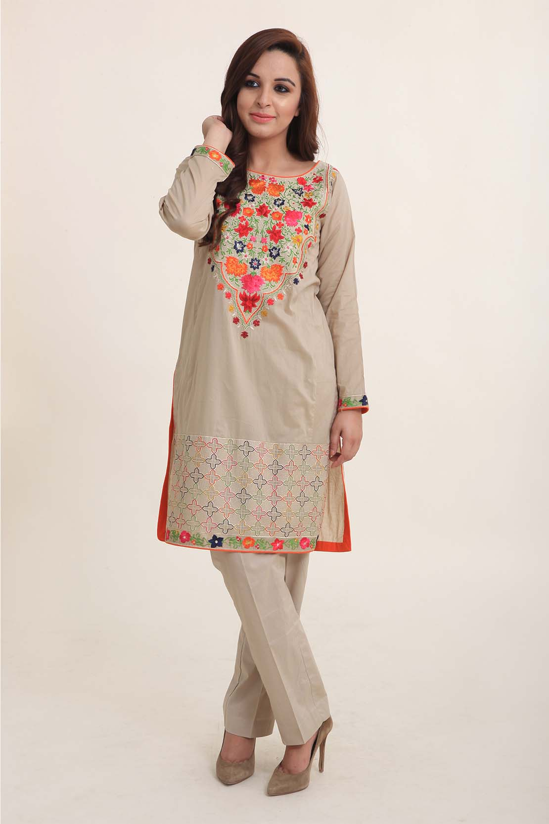 Rose Pot Embroidered Eid Wear Dress By Bareeze 2016