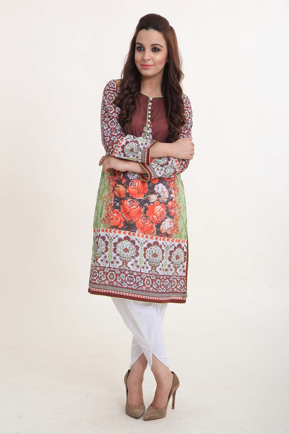 Sindhi Roses Lawn Shirt By Bareeze For Eid 2016