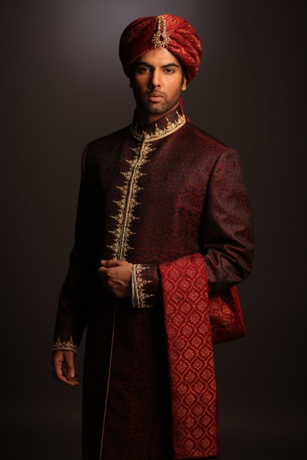 deepak perwani Maroon sherwani collection
