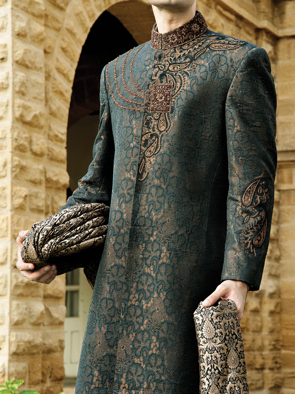junaid jamshed Brown Embroidered sherwani collection