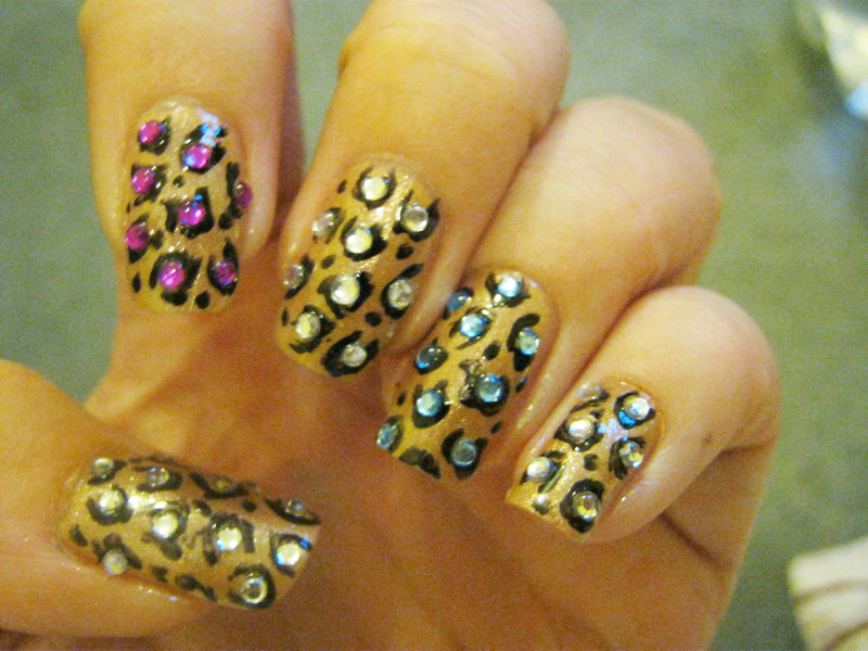 Animal Print Rhinestone Nail Art Designs 01