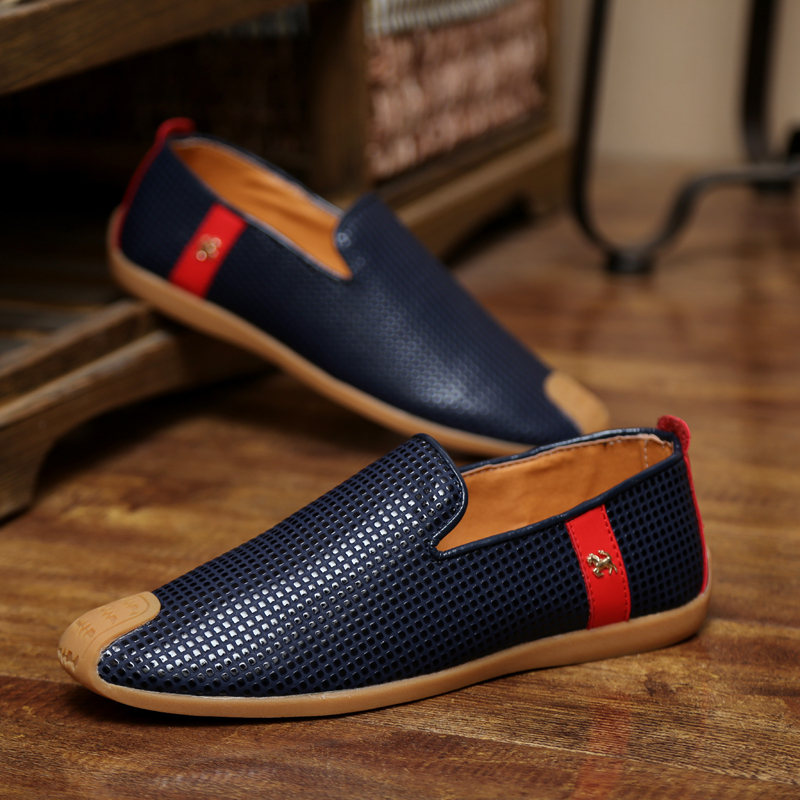 Blue Dotted Slip Ons Casual Shoes for Men