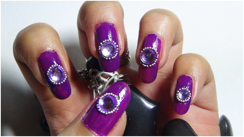 Solid Color Rhinestone Nail Art Designs 01