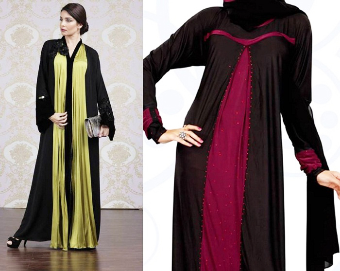 Golden Hijab with Black Designer Abayas