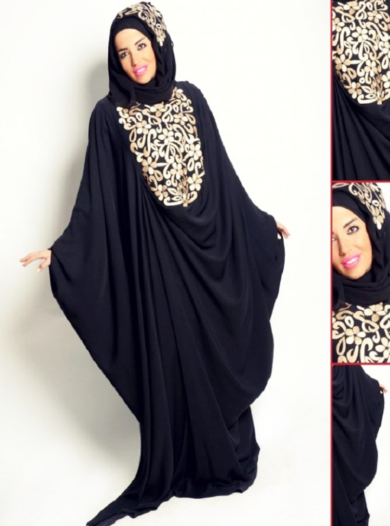 Golden Pattern Hijab with Black Designer Abayas