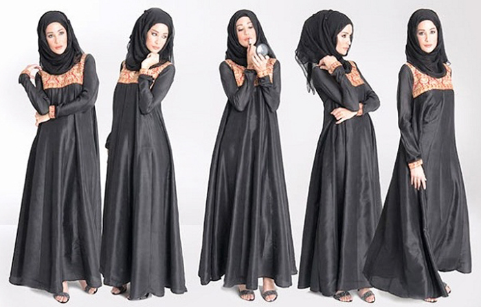Orange Body Light Black Designer Abayas