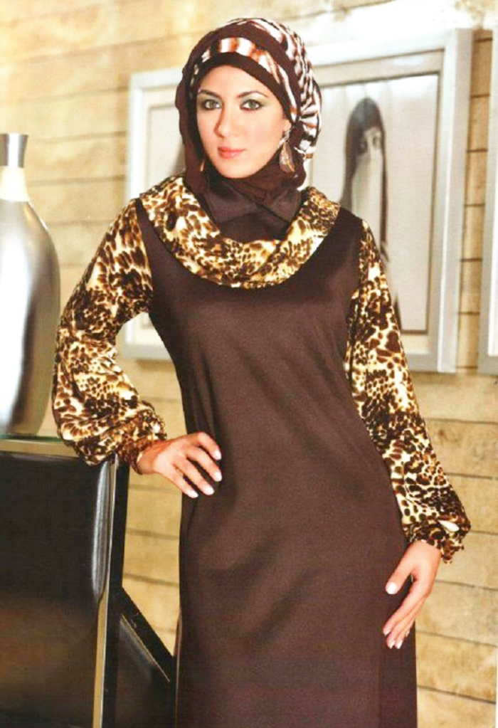 Cheeta Print Sleeve Style and Brown Designer Abayas